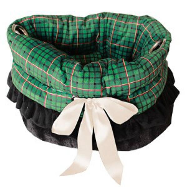Reversible Snuggle Bugs Pet Bed, Bag, and Car Seat - Green Plaid