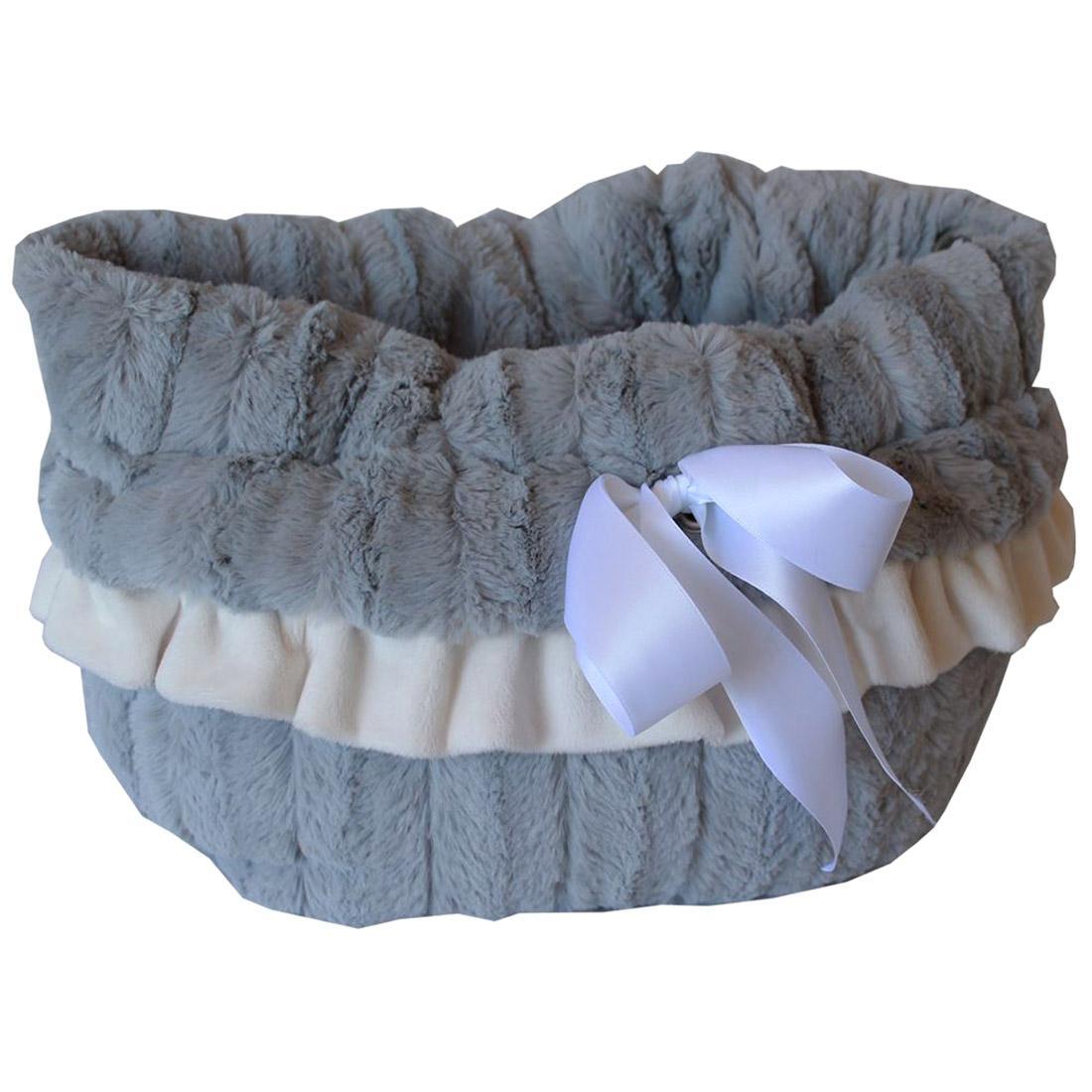 Reversible Snuggle Bugs Pet Bed, Bag, and Car Seat - Gray
