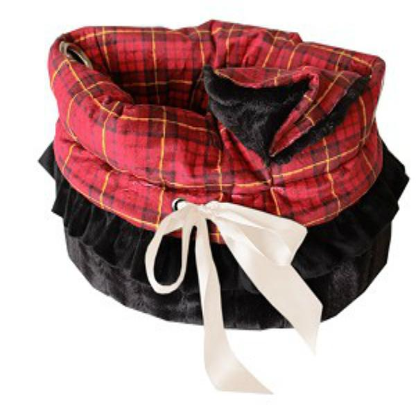 Reversible Snuggle Bugs Pet Bed, Bag, and Car Seat - Red Plaid