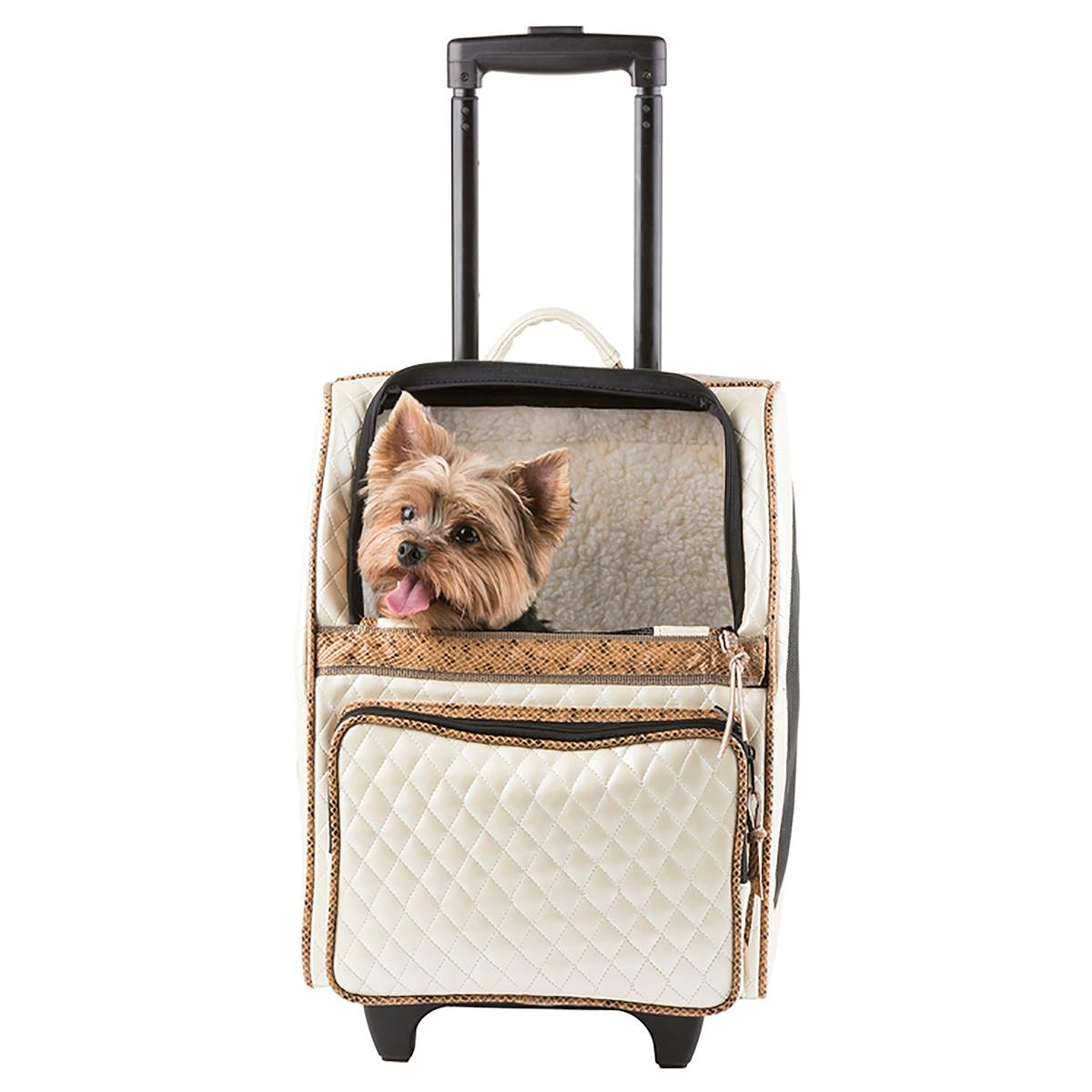 Rio Rolling Quilted Luxe Dog Carrier Backpack - Ivory