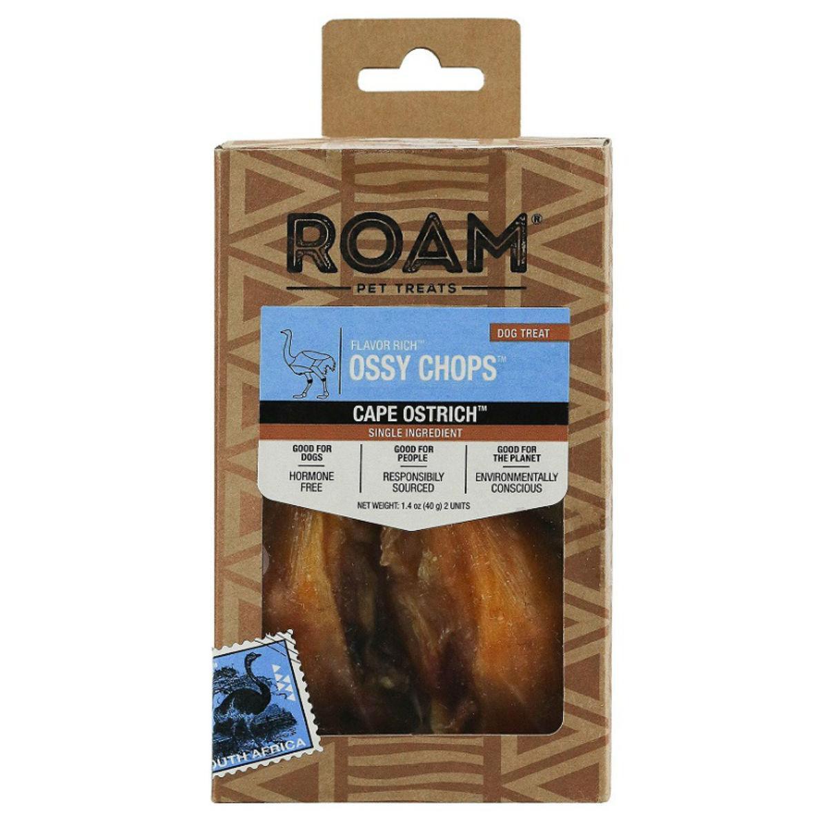 ROAM Ossy Chops Dog Treat - Cape Ostrich