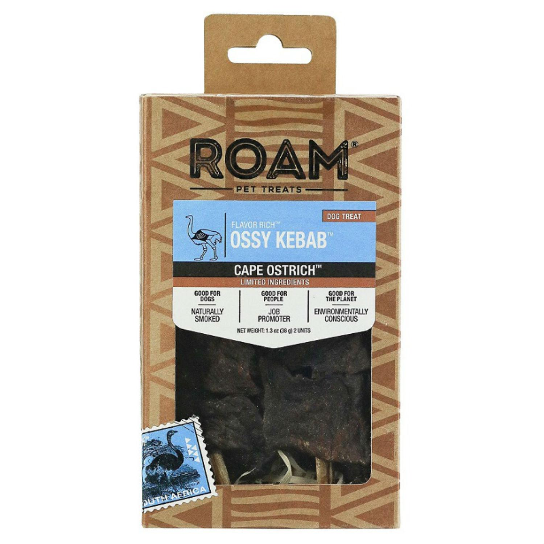 ROAM Ossy Kebab Dog Treat - Cape Ostrich