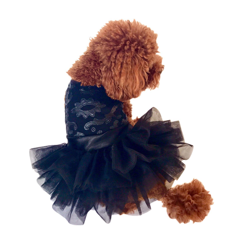 Rocker Applique Mesh Fufu Tutu Dog Dress - Black