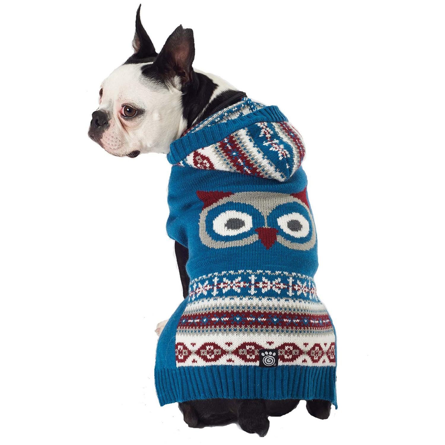 Roo's Hooded Woodland Dog Sweater - Owl