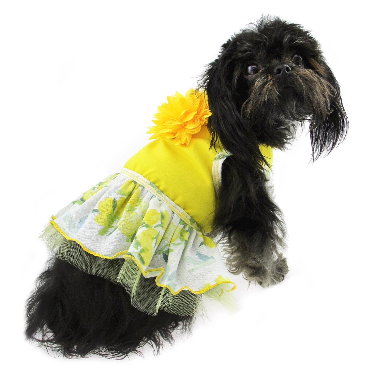 Rose Print Dog Dress - Yellow