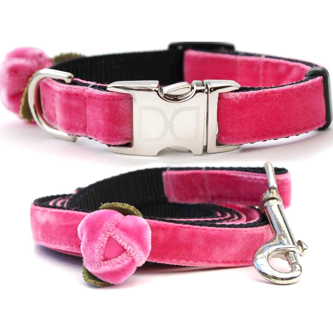 Rosebud Pink Velvet Small Dog Collar and Leash Set by Diva Dog