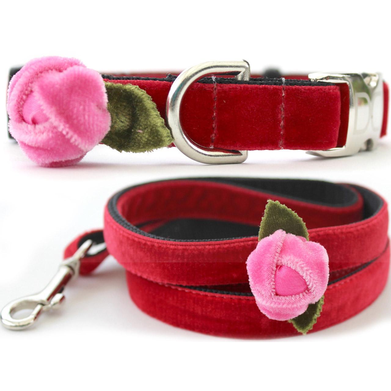 Rosebud Red Velvet Small Dog Collar and Leash Set by Diva Dog