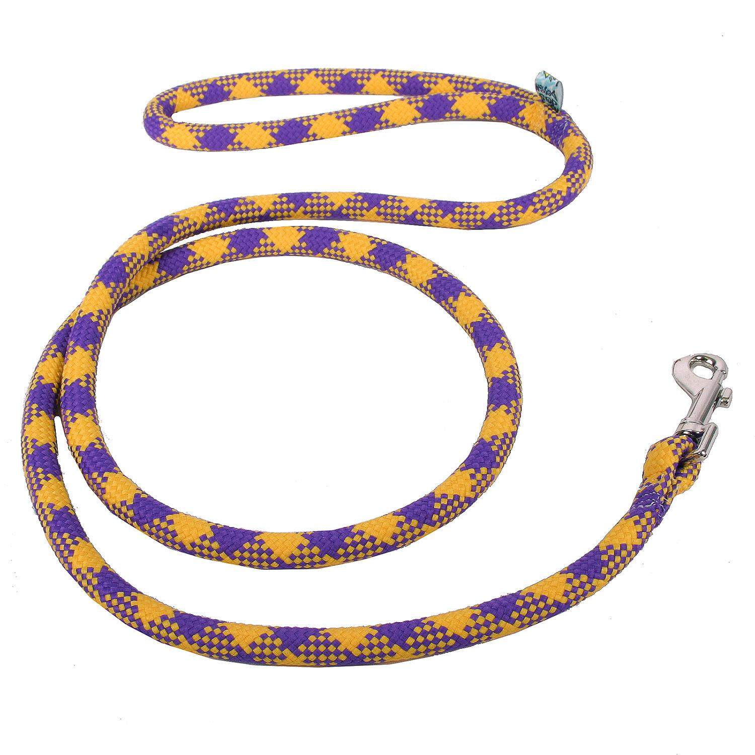 Round Braided Team Colors Dog Leash by Yellow Dog - Purple and Gold