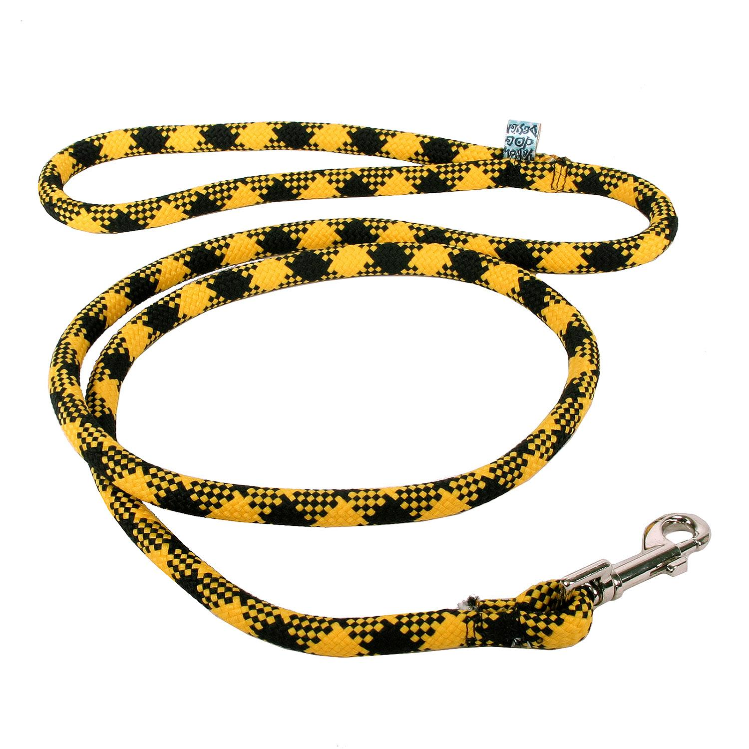 Round Braided Team Colors Dog Leash by Yellow Dog - Black and Gold