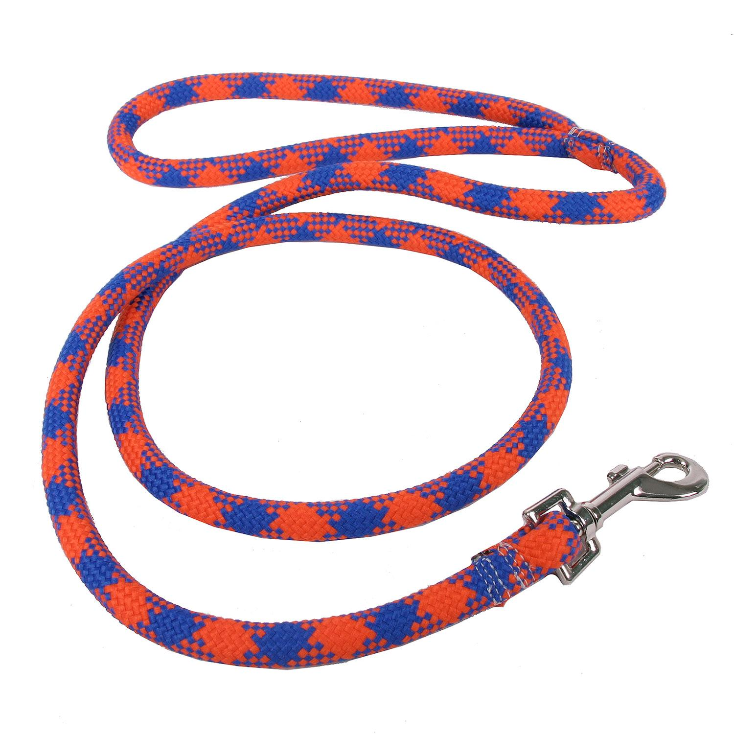 Round Braided Team Colors Dog Leash by Yellow Dog - Orange and Blue