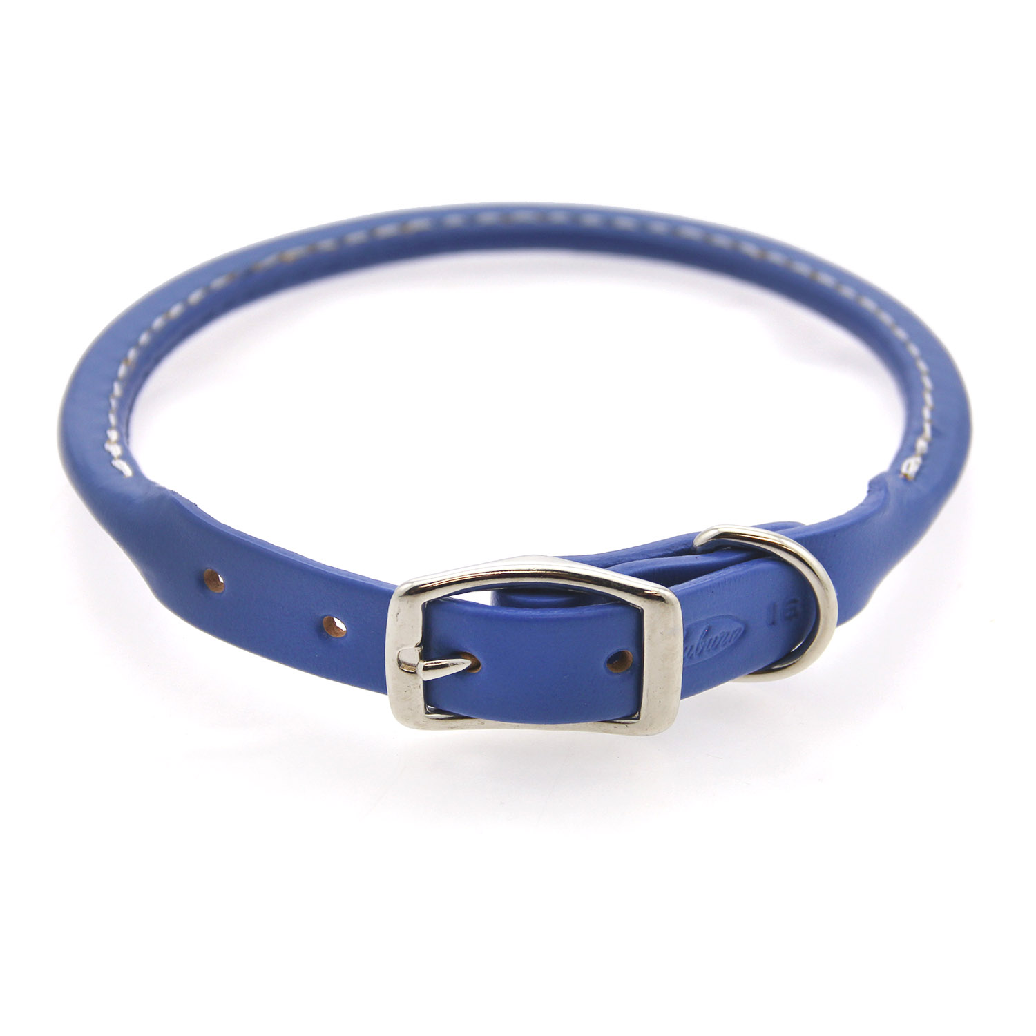 Round Leather Dog Collar by Auburn Leather - Royal Blue