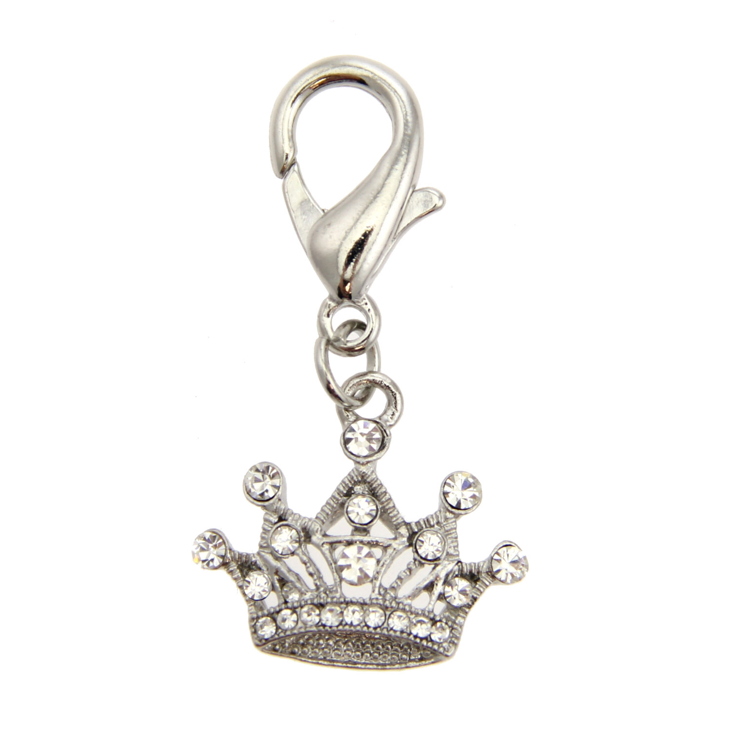 Royal Crown D-Ring Pet Collar Charm by foufou Dog - Clear