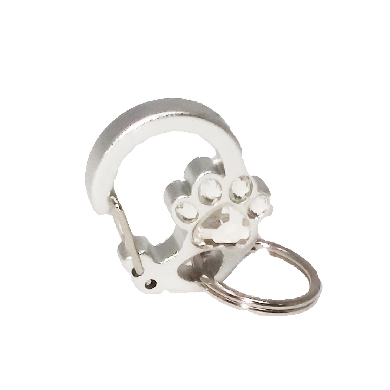 Rubit Crystal Paw Dog Tag Clip - Silver