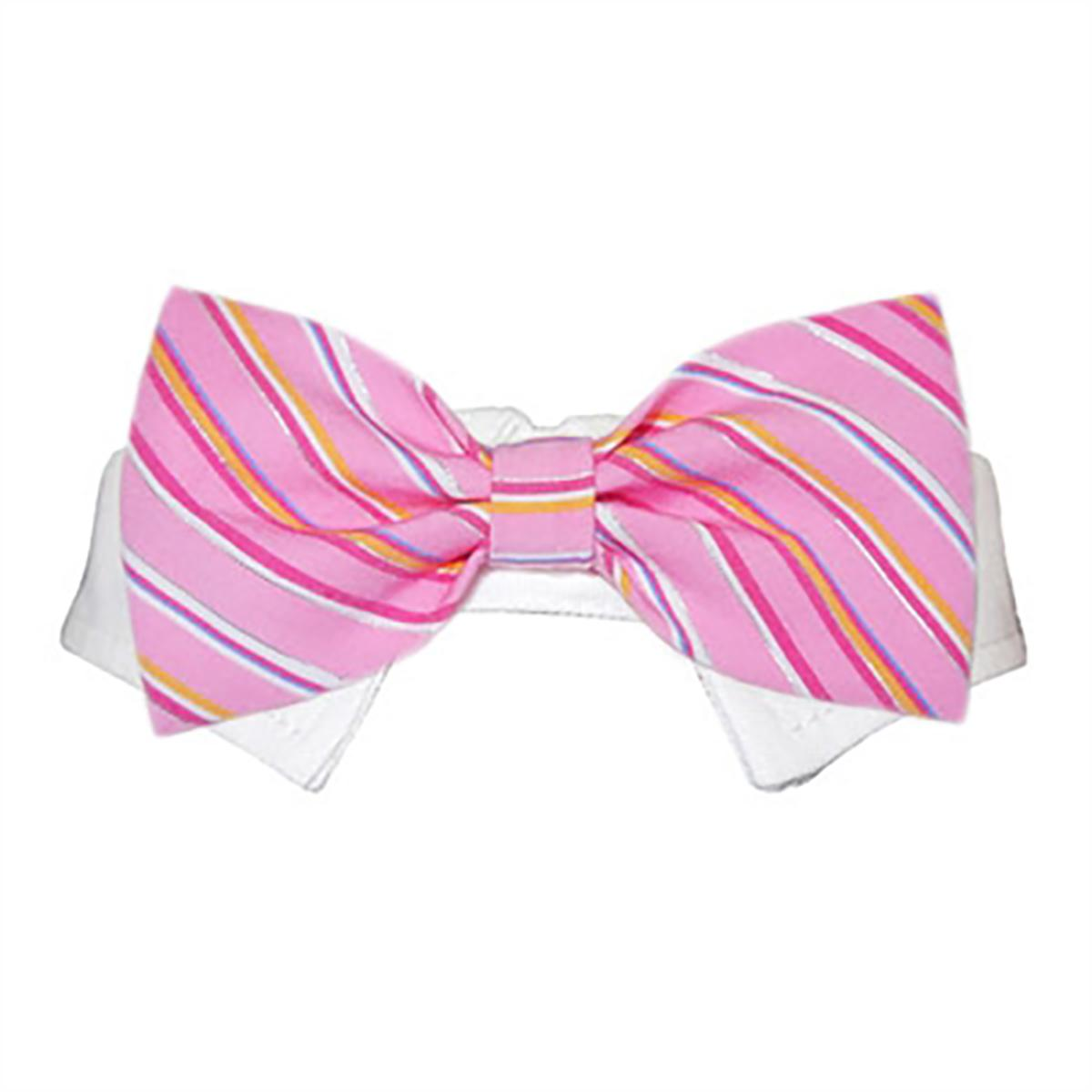 Ryan Dog Shirt Collar And Bow Tie Pink Striped With Same