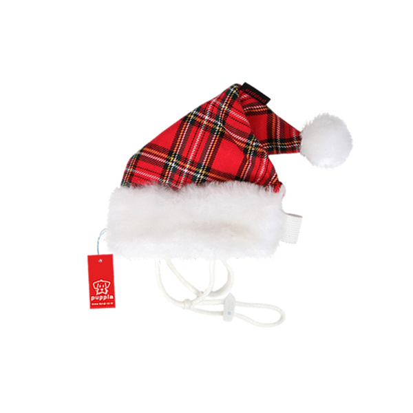 Santa's Dog Hat by Puppia - Red Plaid