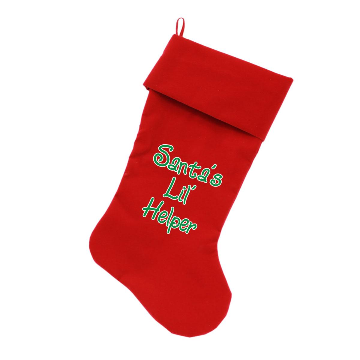 Santa's Lil Helper Velvet Dog Stocking - Red