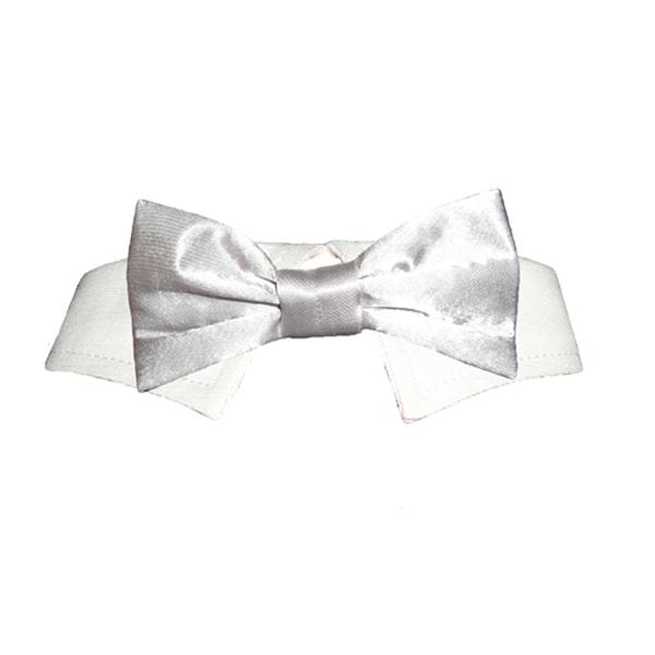Satin Pet Bowtie Collar - Silver