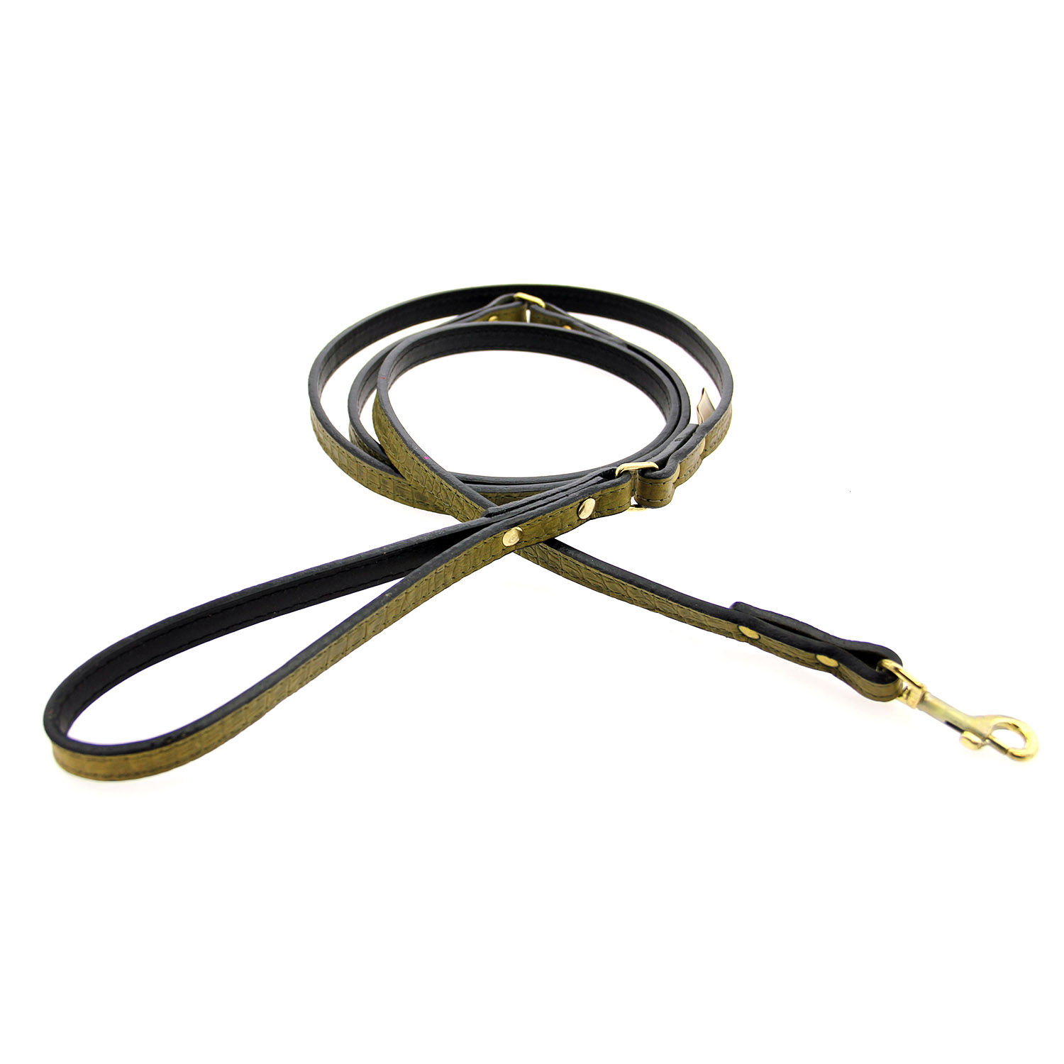 Savannah Leather Dog Leash by Auburn Leather - Lizard Olive