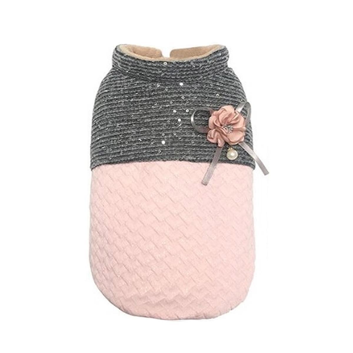 Parisian Pet Scalloped Dog Jacket - Pink and Gray