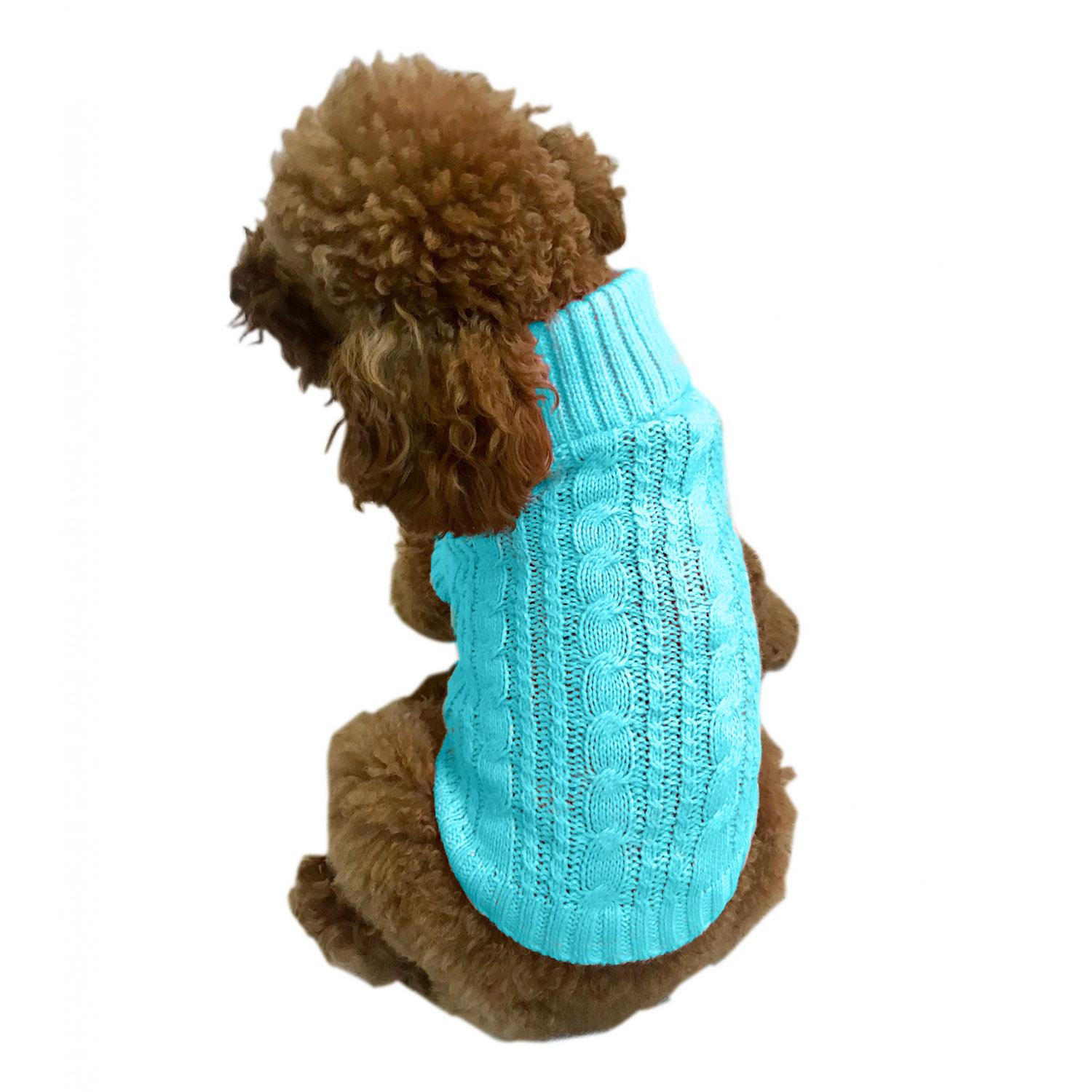 Scottish Cable Knit Dog Sweater by The Dog Squad - Light Turquoise