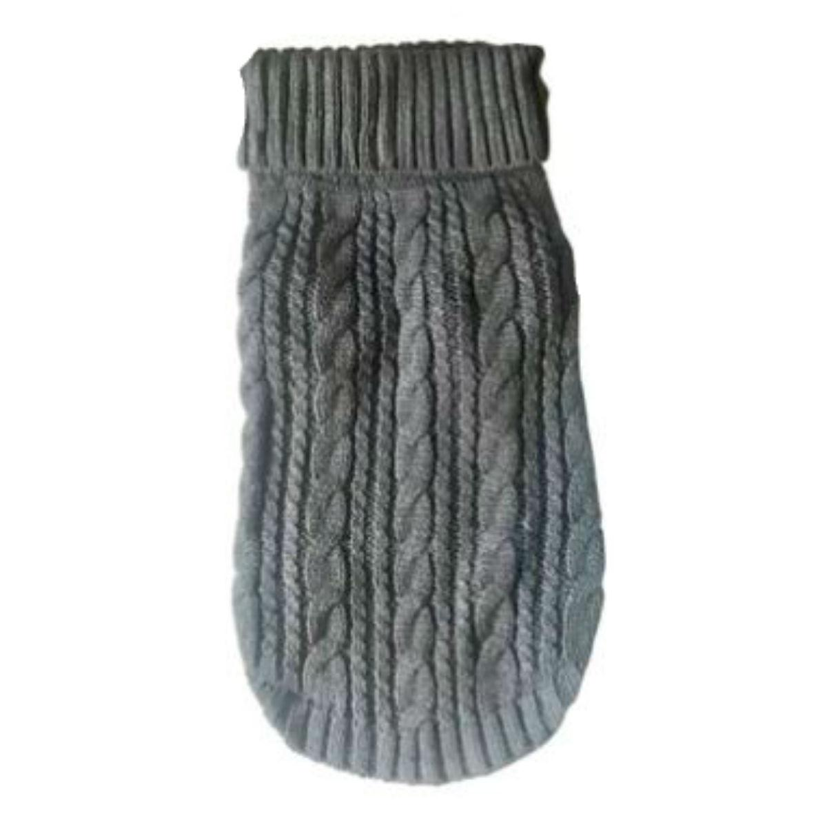 The Dog Squad Scottish Cable Knit Dog Sweater - Charcoal Gray