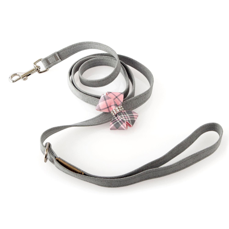 Scotty Nouveau Bow Dog Leash by Susan Lanci - Platinum with Puppy Pink Plaid