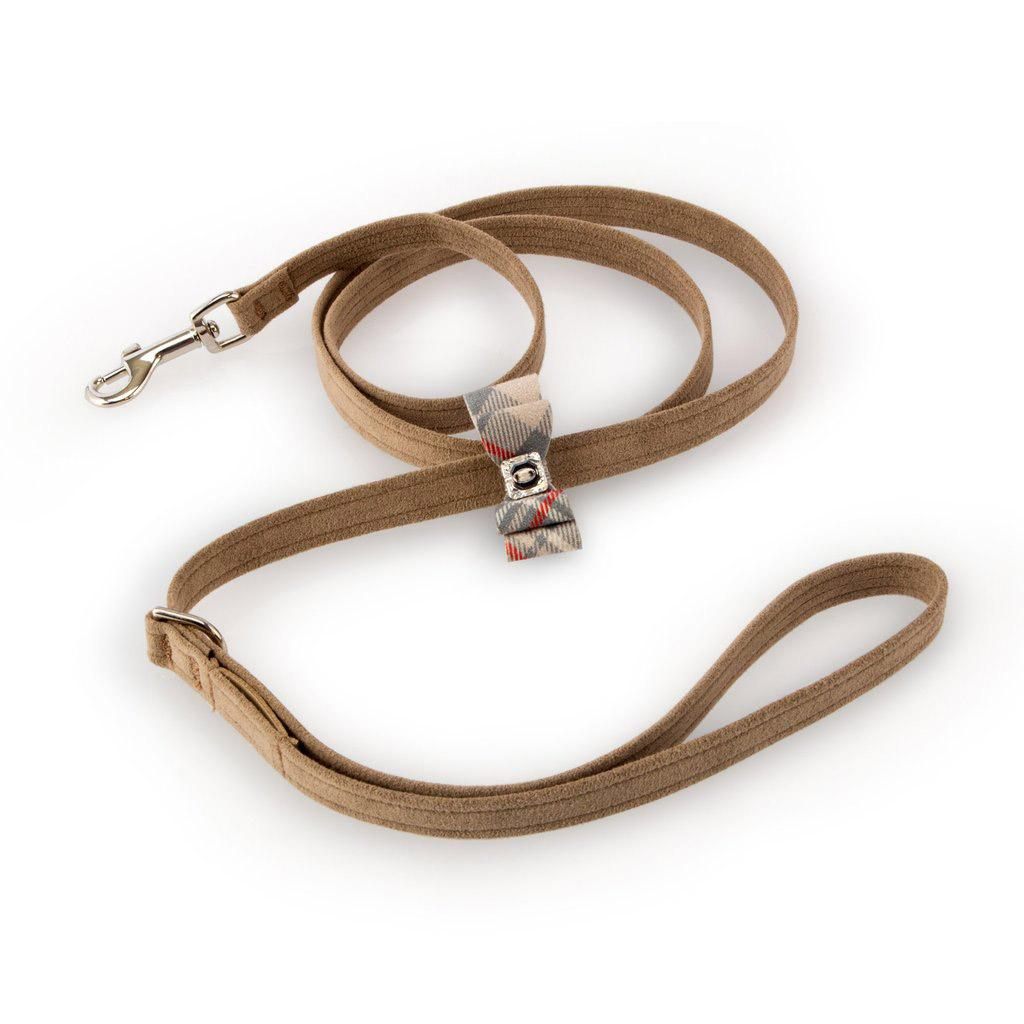 Scotty Big Bow Dog Leash by Susan Lanci - Fawn with Doe Plaid