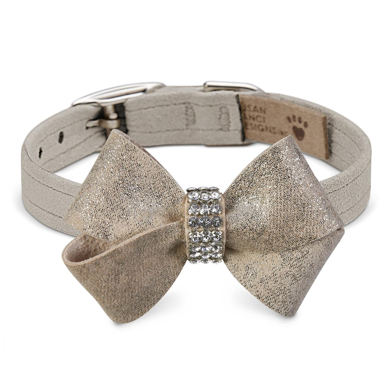 Champagne Glizerati Nouveau Bow Luxury Dog Collar by Susan Lanci - Doe