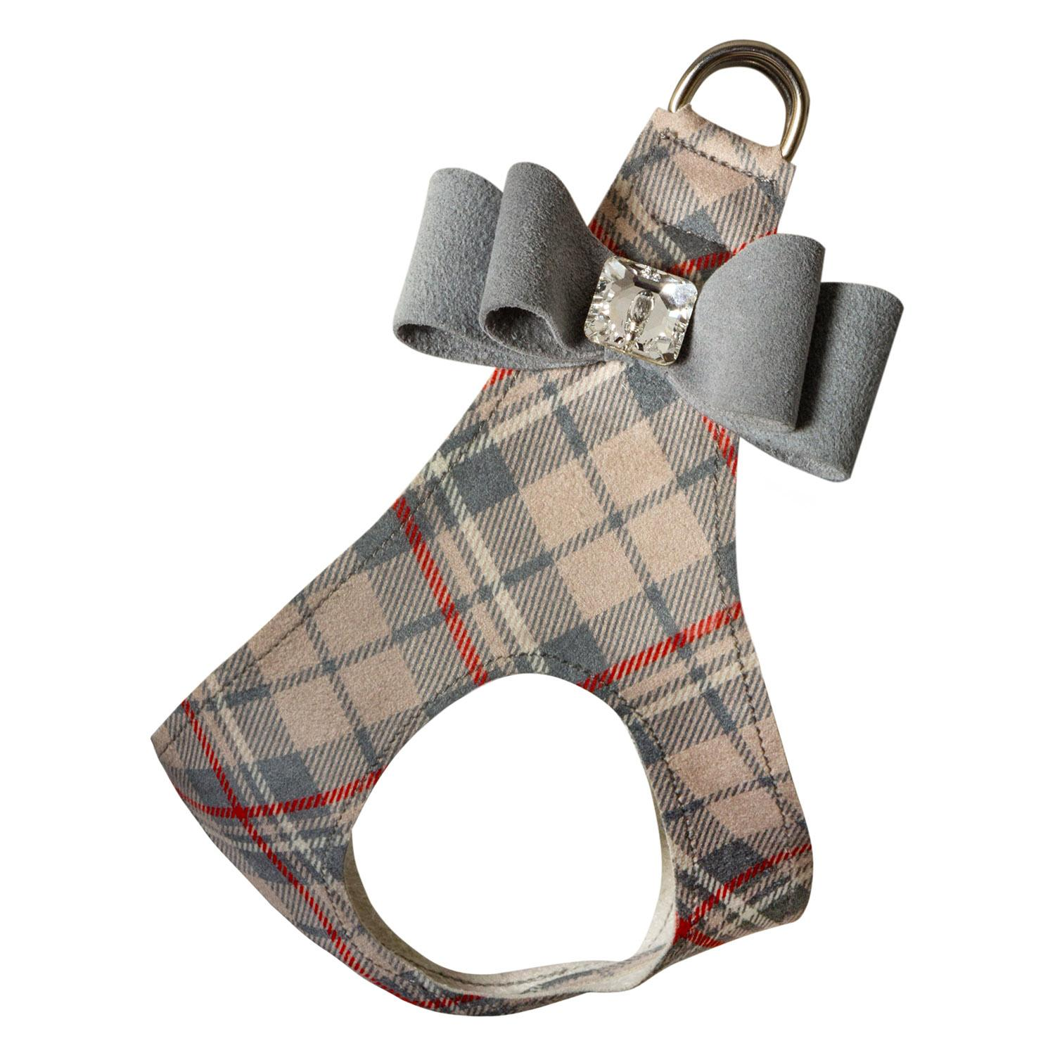 Scotty Doe Plaid Step-In Dog Harness with Platinum Big Bow by Susan Lanci