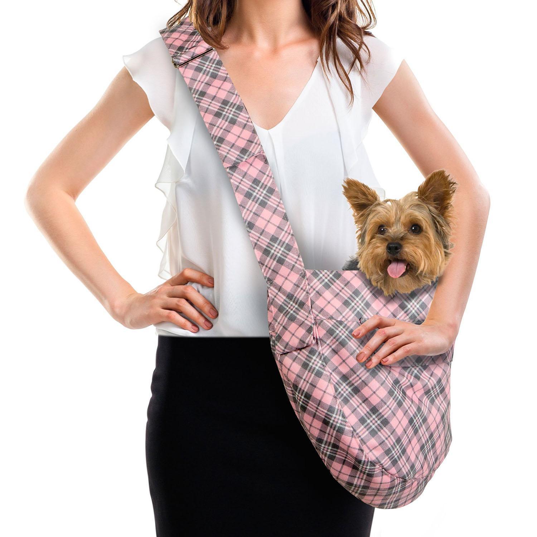 Scotty Puppy Pink Plaid Dog Cuddle Carrier by Susan Lanci