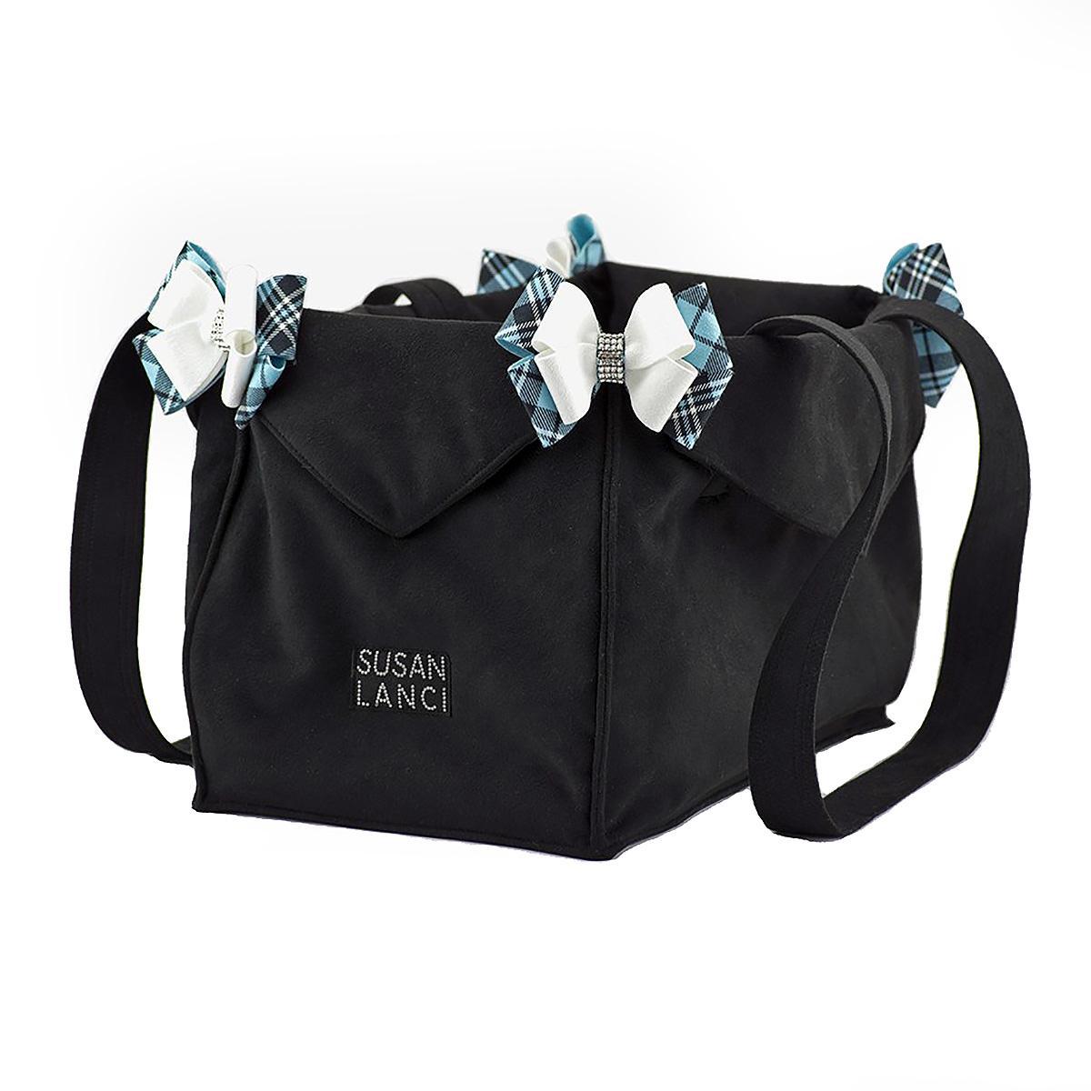 Scotty Tiffi Plaid Nouveau Bow Luxury Dog Carrier by Susan Lanci - Black
