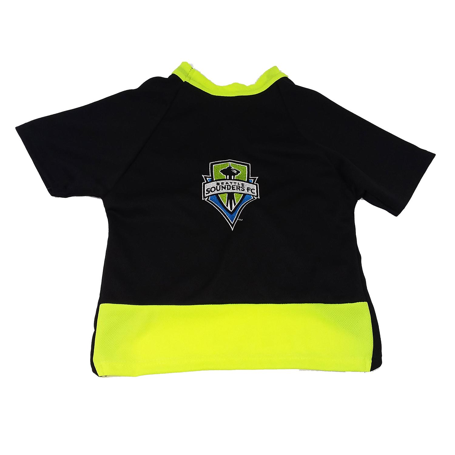Seattle Sounders Athletic Mesh Dog Jersey - Black with Neon Trim