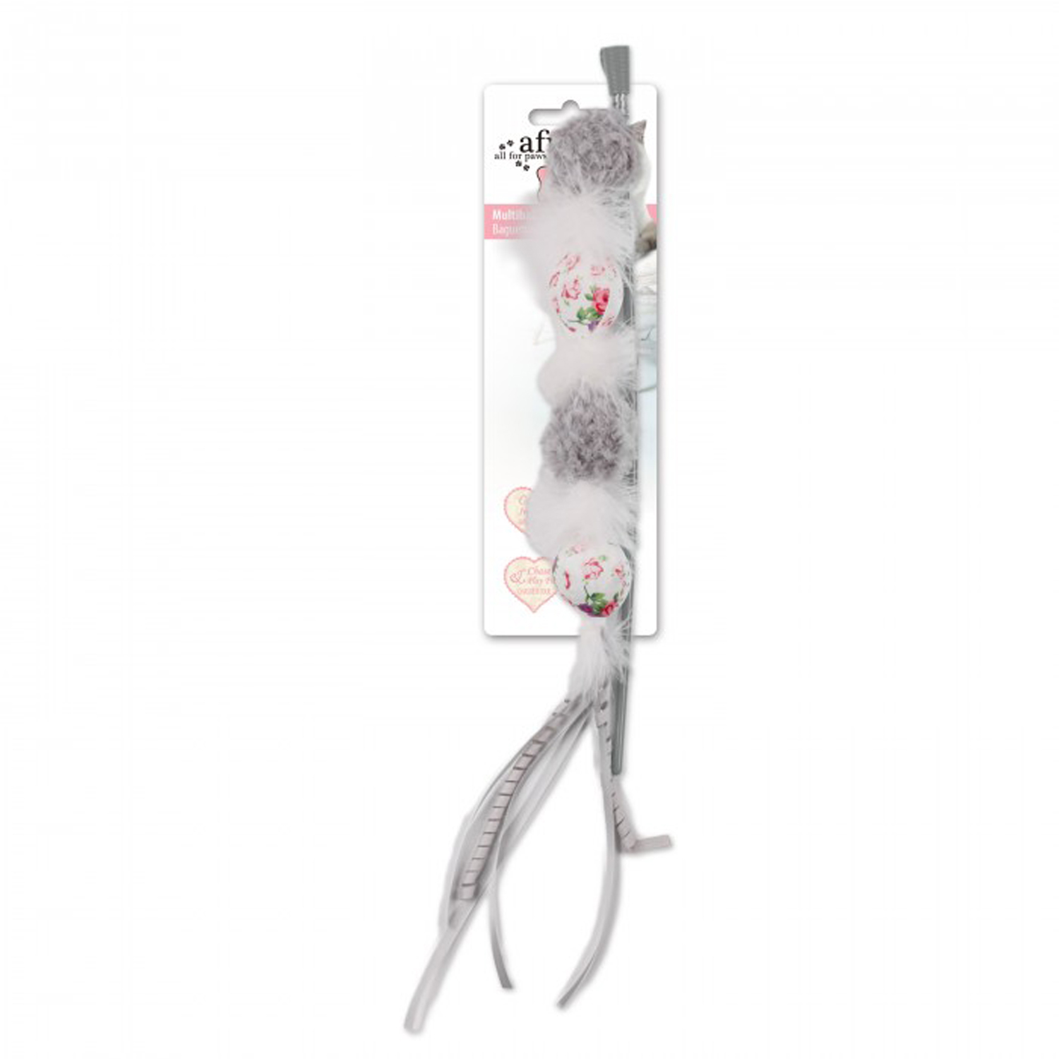 Shabby chic multiball wand cat toy gray with same day shipping baxterboo - Shabby chic wand ...
