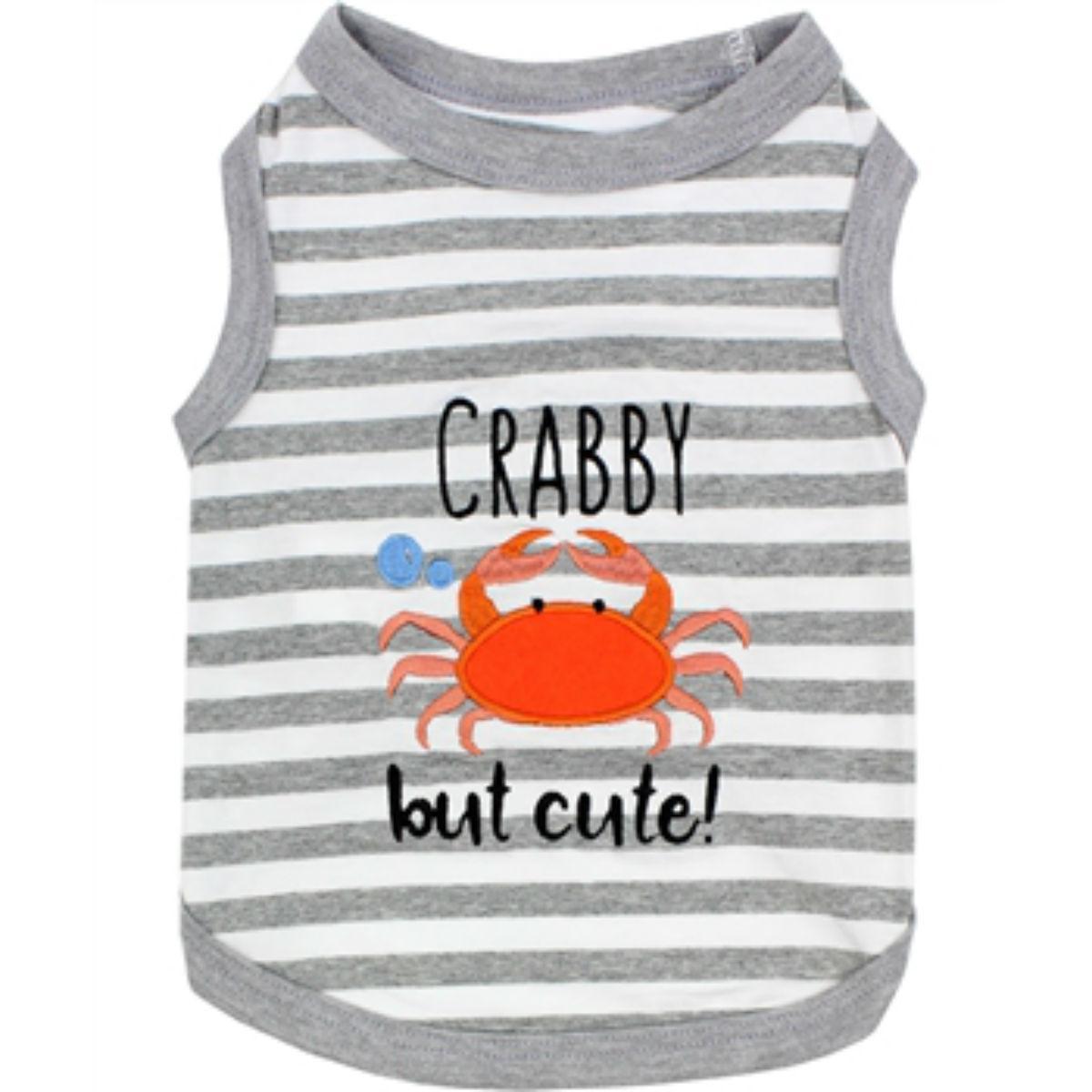 Crabby but Cute Dog Tank by Parisian Pet - Gray