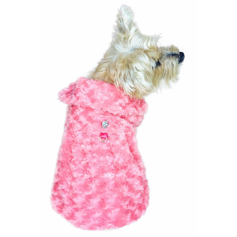 Shop Til You Drop Rosebud Faux Fur Dog Coat - Coral Pink