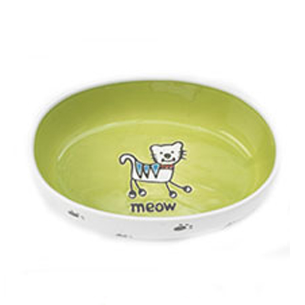 Silly Kitty Oval Cat Bowl - Lime Green