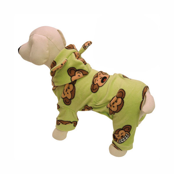 Silly Monkey Fleece Hooded Dog Pajamas by Klippo - Lime