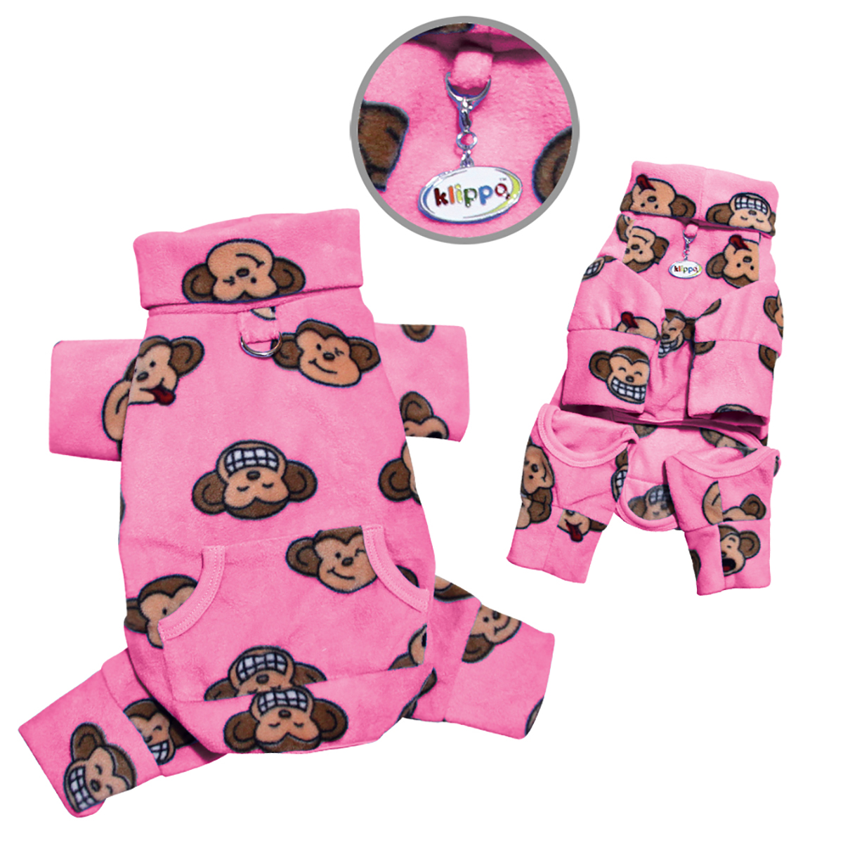 Silly Monkey Fleece Turtleneck Dog Pajamas - Pink