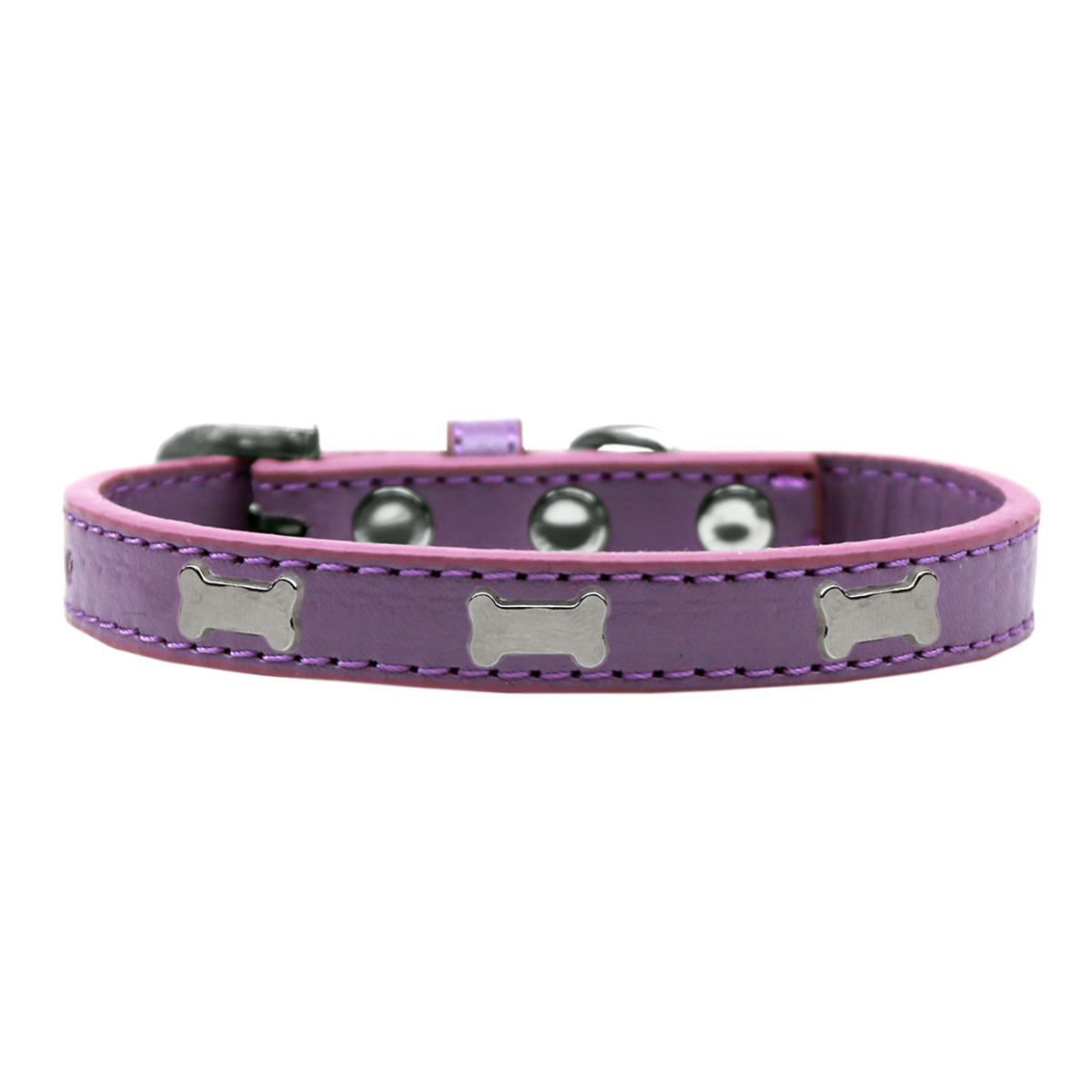 Silver Bone Widget Dog Collar - Lavender