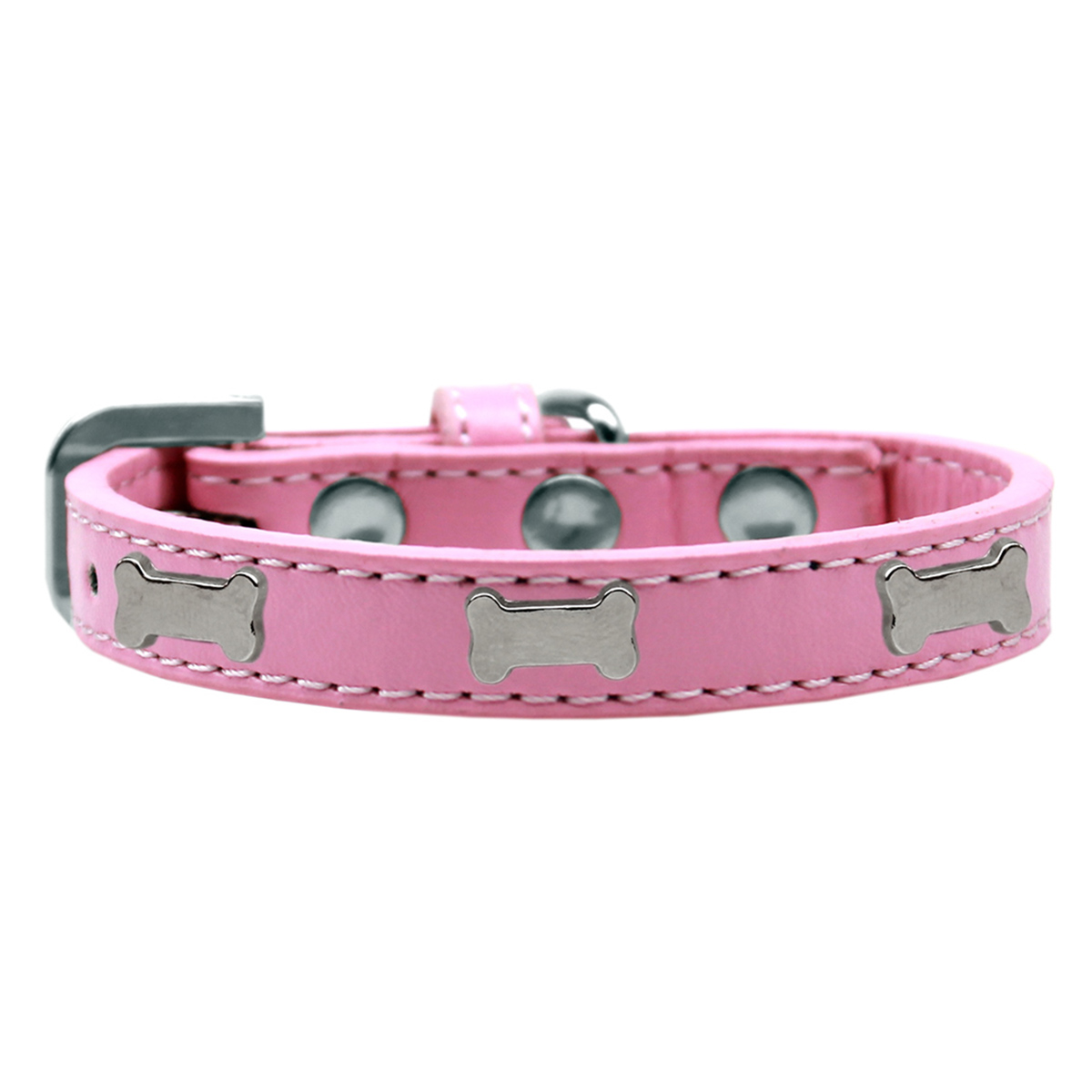 Silver Bone Widget Dog Collar - Light Pink