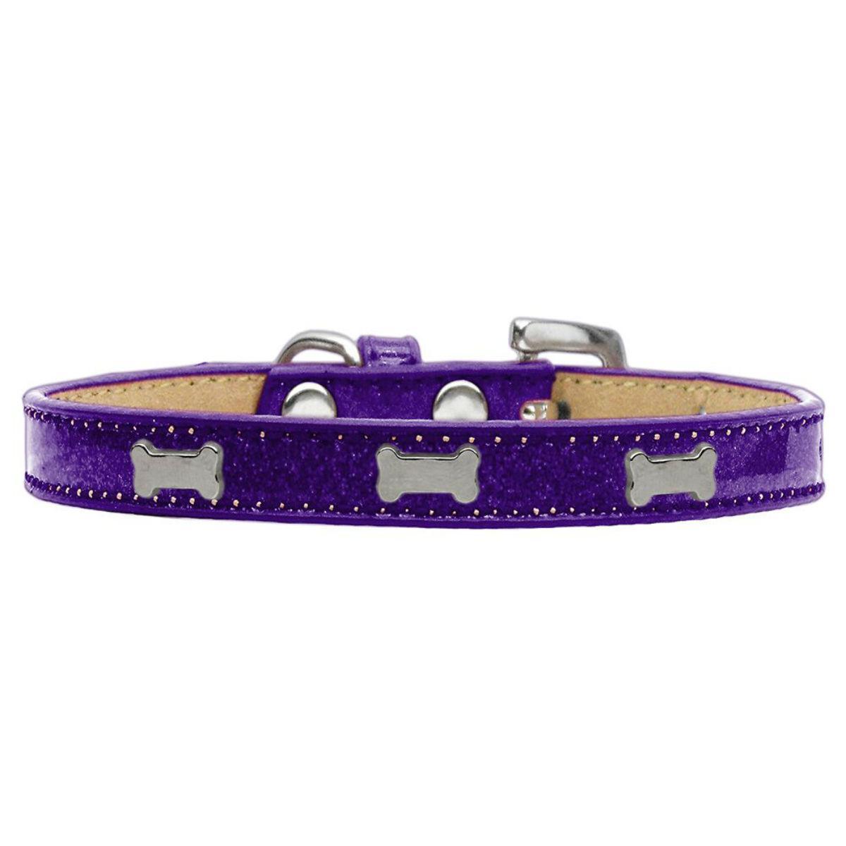 Silver Bone Widget Dog Collar - Purple Ice Cream