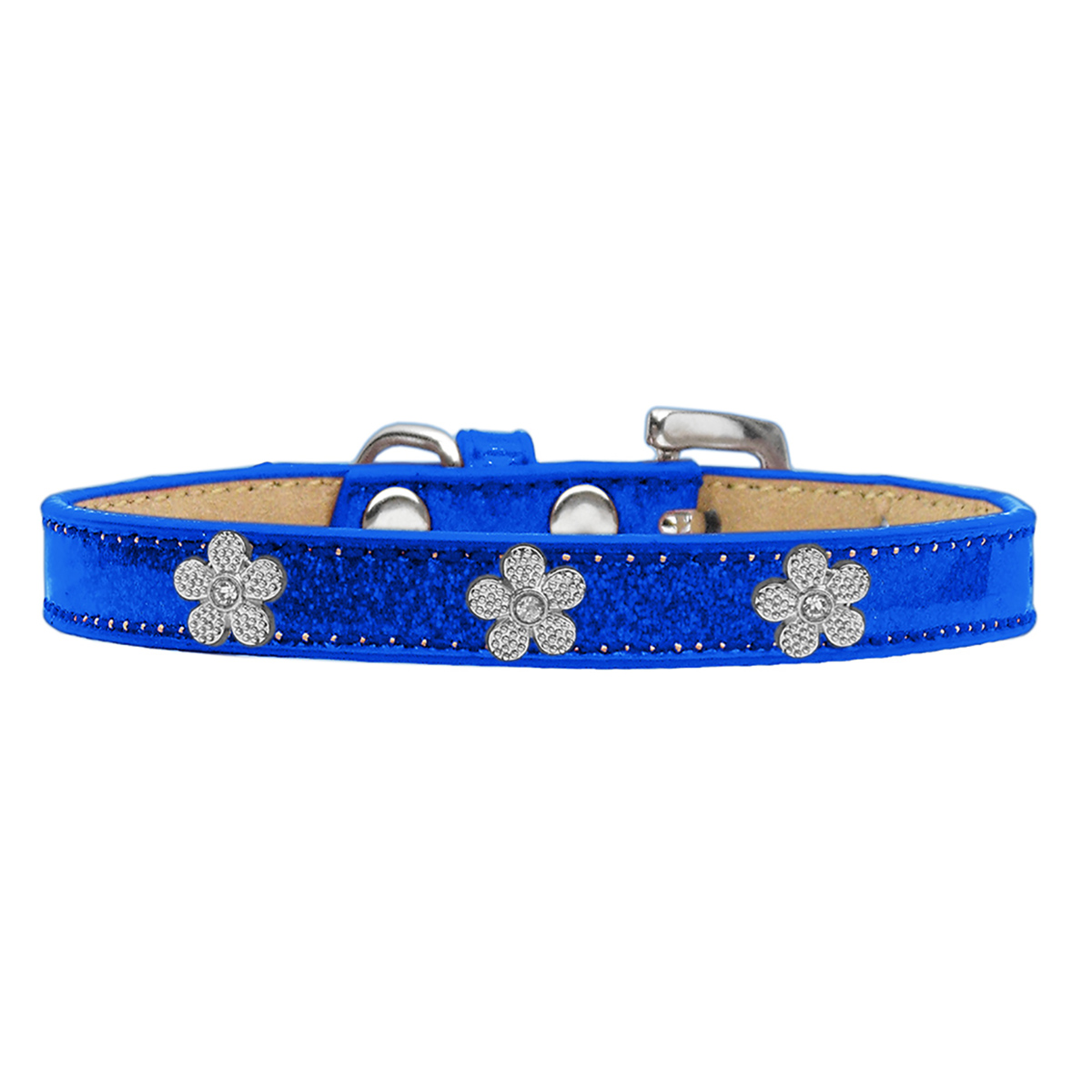 Silver Flower Widget Dog Collar - Blue Ice Cream