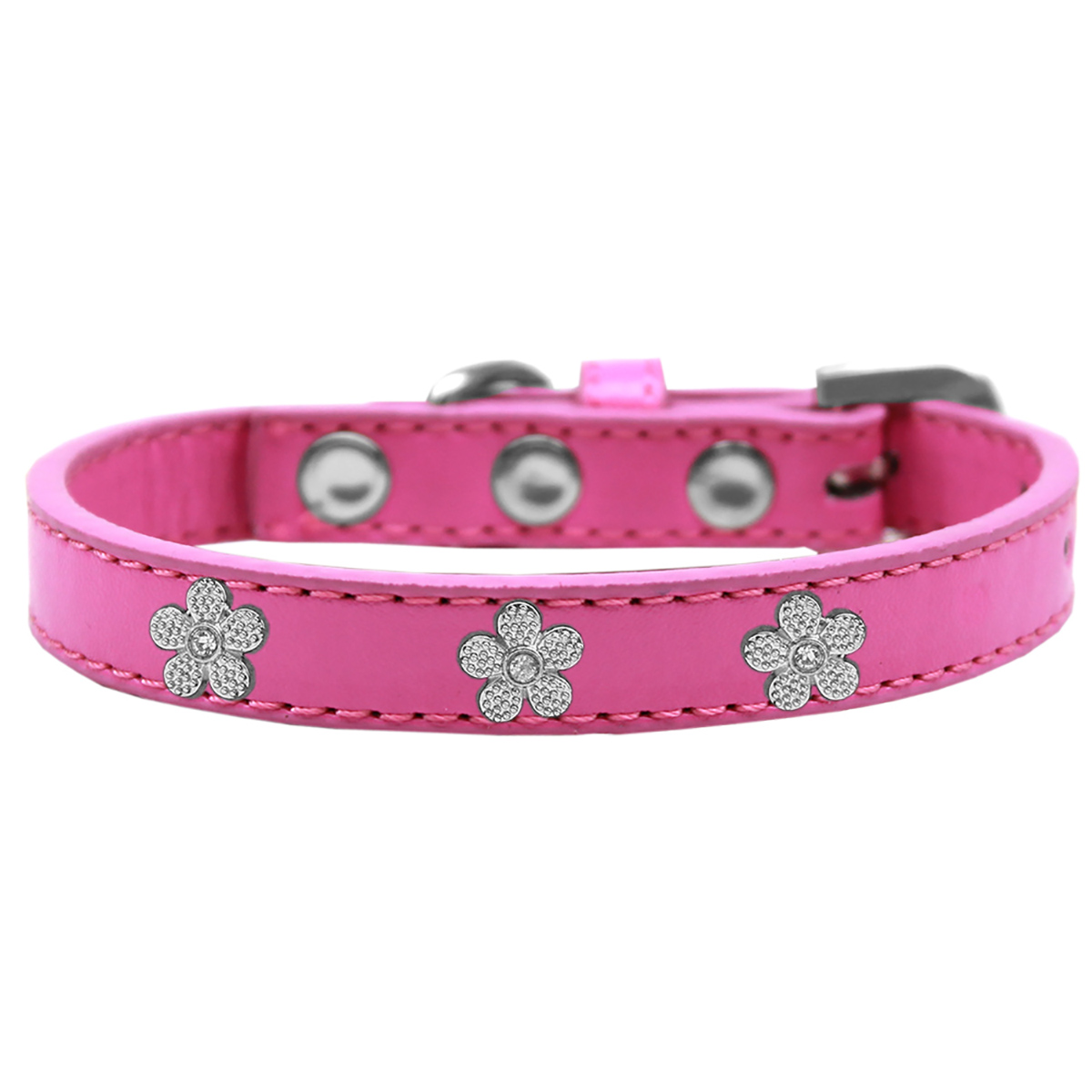 Silver Flower Widget Dog Collar - Bright Pink