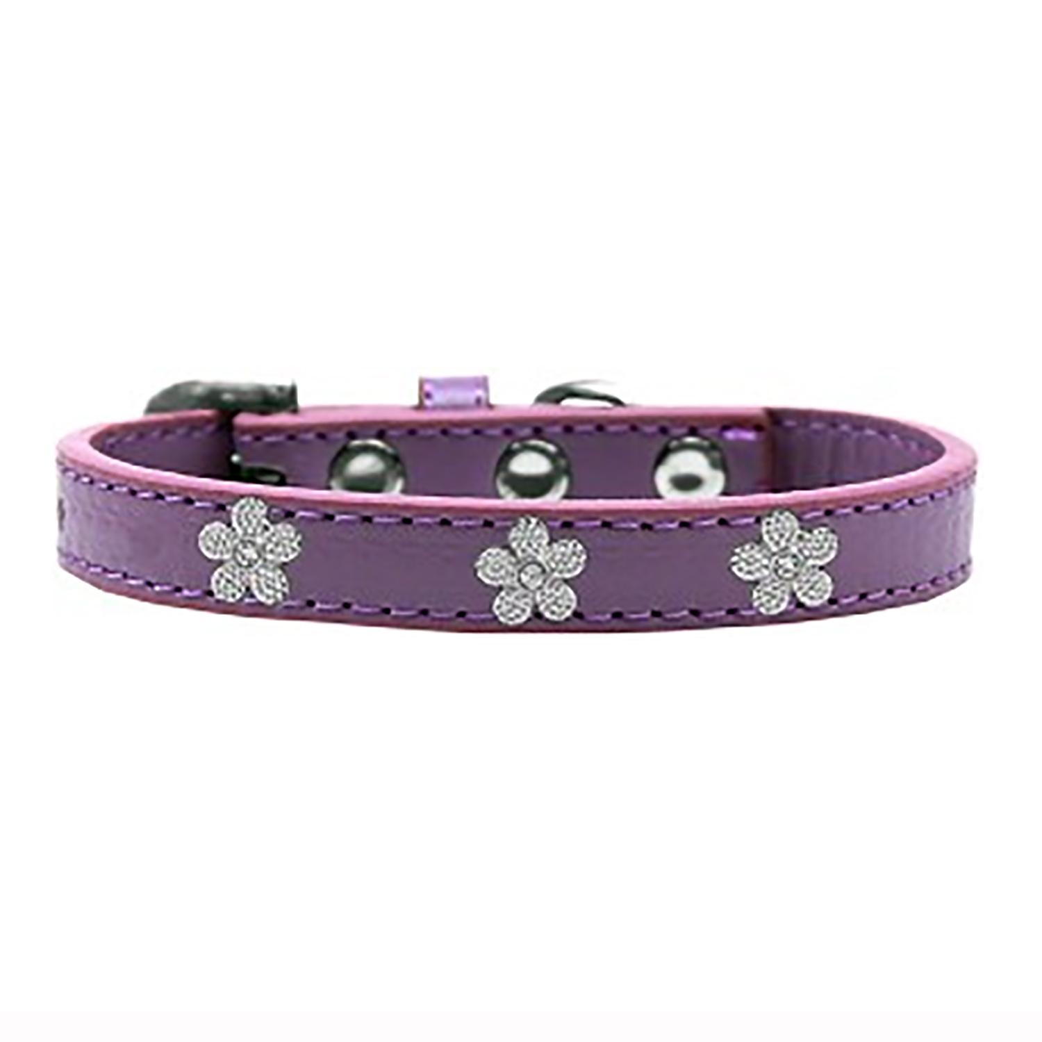 Silver Flower Widget Dog Collar - Lavender