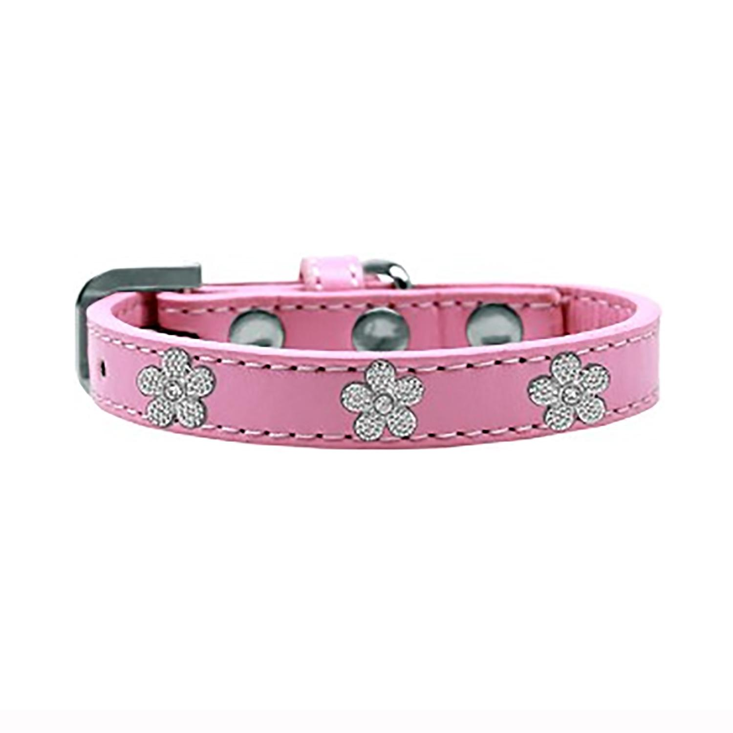 Silver Flower Widget Dog Collar - Light Pink