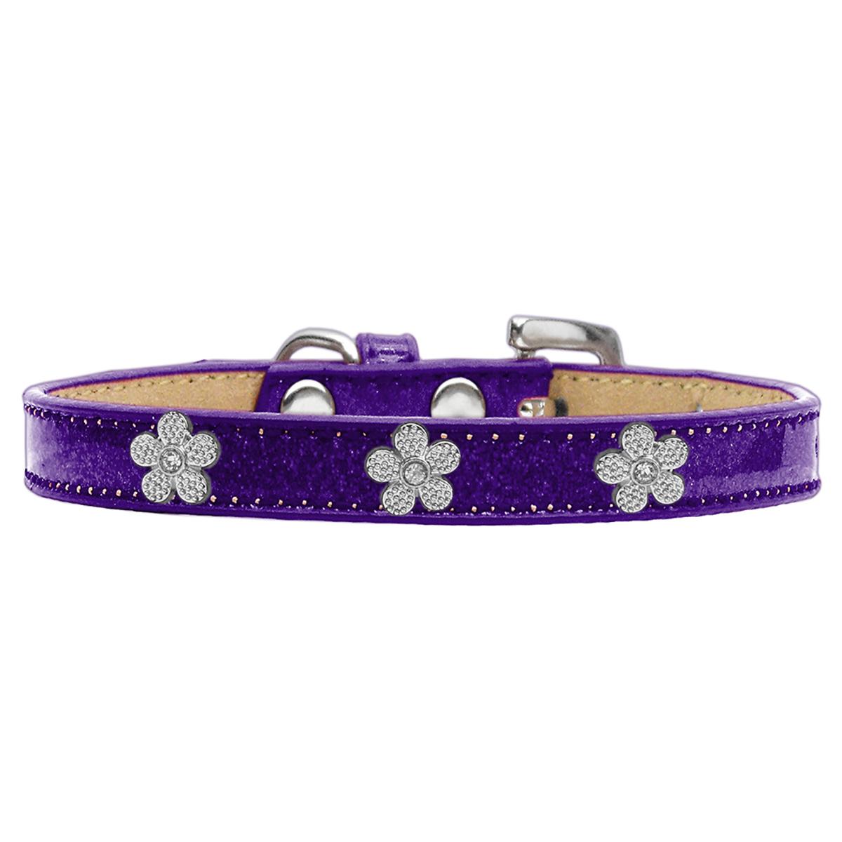 Silver Flower Widget Dog Collar - Purple Ice Cream