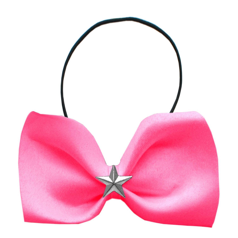 Silver Star Widget Dog Bow Tie - Bright Pink