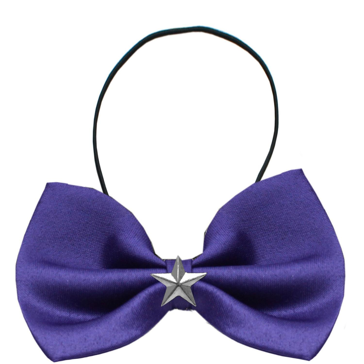 Silver Star Widget Dog Bow Tie - Purple