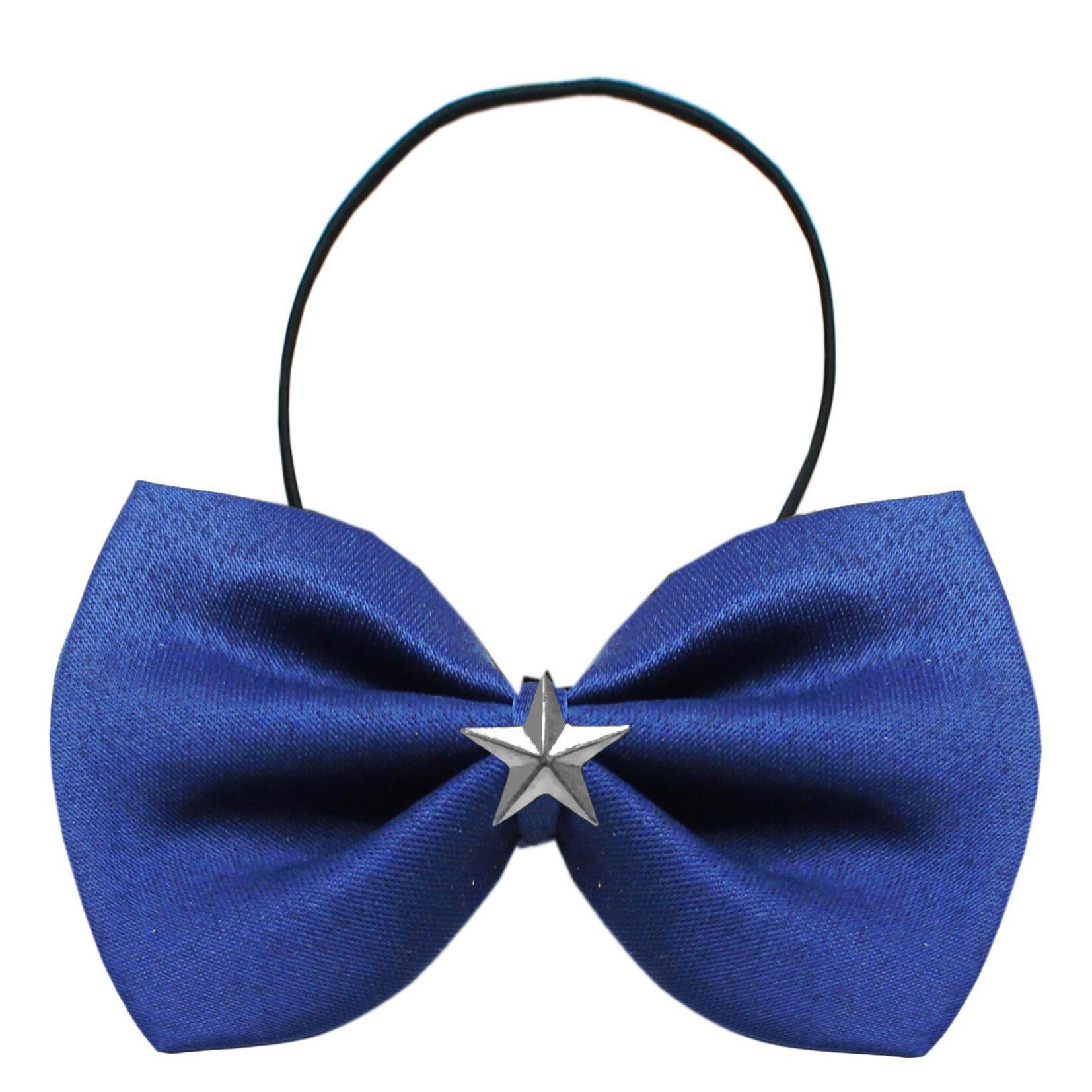 Silver Star Widget Dog Bow Tie - Blue