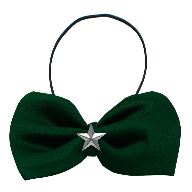Mirage Silver Star Widget Dog Bow Tie - Green